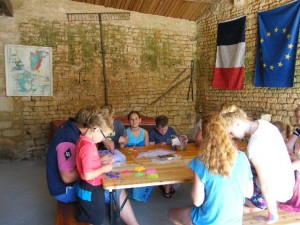 Holiday Club in the barn - loom band time!