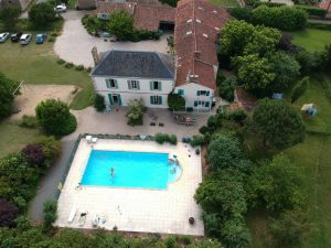Pool, central courtyard, Les Ardoises, Les Boulins and Le Cerisier