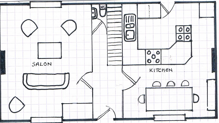 Les Ardoises - Ground Floor Plan * Not to scale * Placement of furniture is indicative only