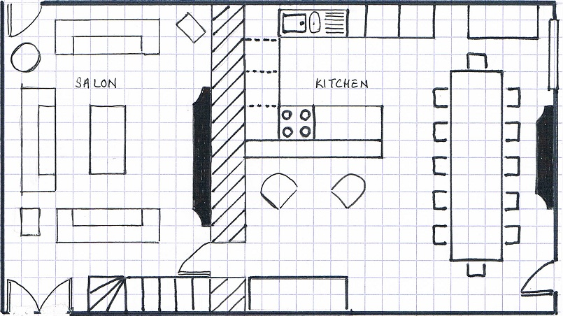 Les Boulins - Ground Floor Plan * Not to scale * Placement of furniture indicative only
