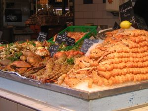 Fresh shellfish at the market in La Rochelle